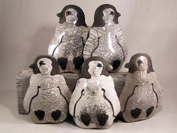 Raku Pottery Baby Emperor Penguin Clay Ornament
