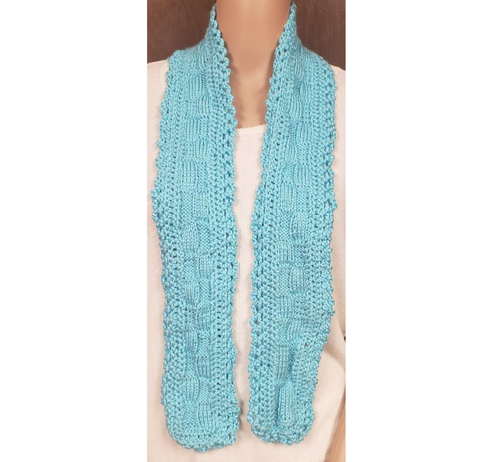 Scarf - Turquoise Hand Knit