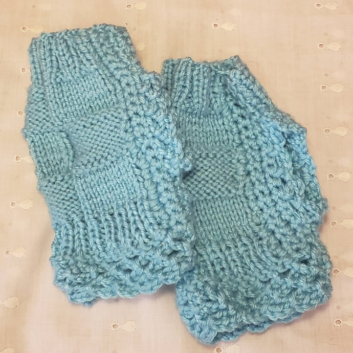 Fingerless Lacy Mittens - Hand Knit - Turquoise