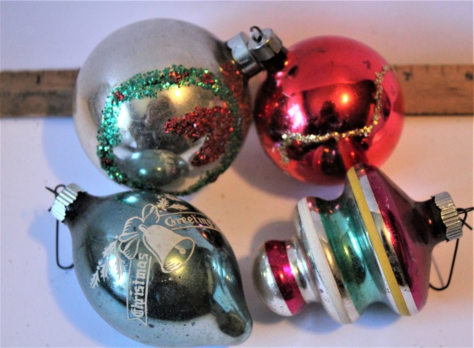 Vintage mercury glass Christmas ornaments  set 3