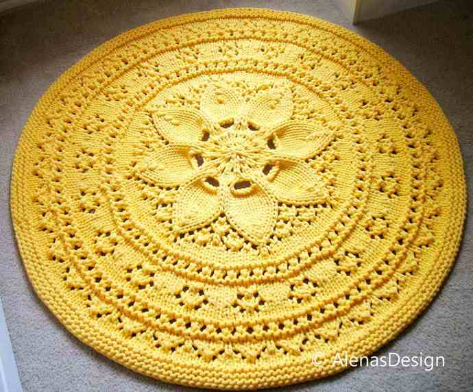Knitting Pattern 251, Floral Lace Rug, Accent Circle Rug, Play Mat Rug