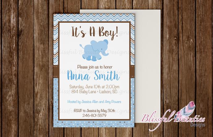 Elephant Themed Baby Shower Invitation