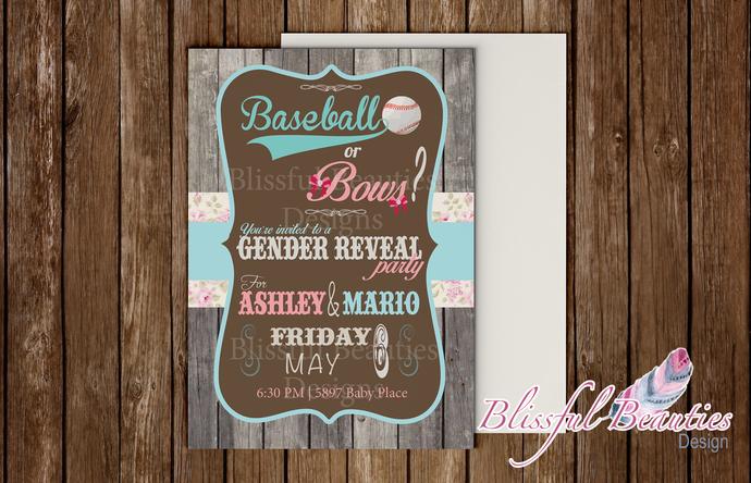 Baseballs or Bows Gender Reveal Invitation