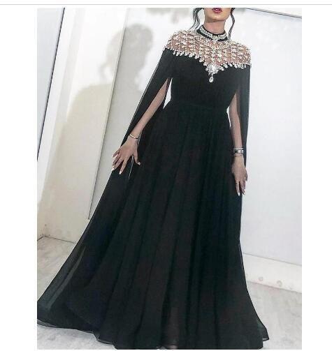 black prom dresses 2020 beaded high neck crystal chiffon Dubai fashion elegant