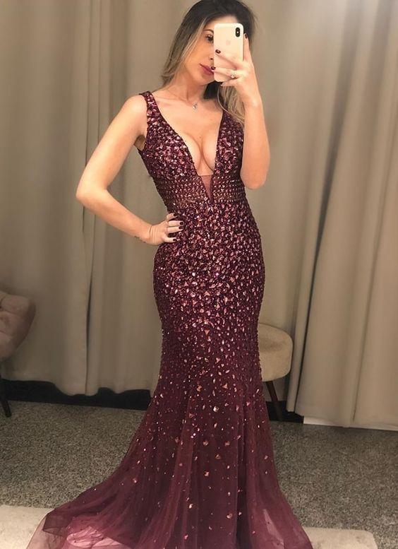 burgundy beaded evening dresses long v neck sleeveless crystal sparkly modest