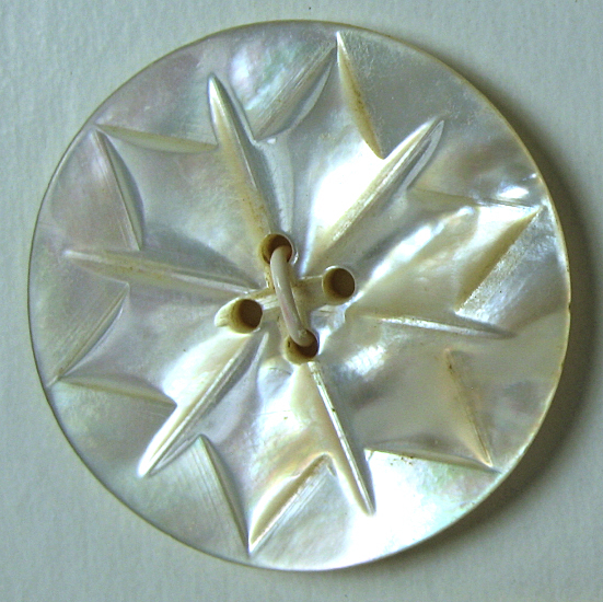 Carved White Pearl Button with Star like design
