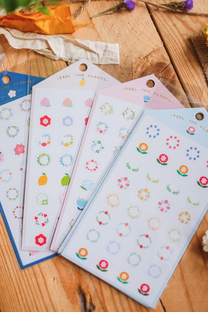 Ownday translucent sticker sheet - Feel The Plants - pink, see-through backing