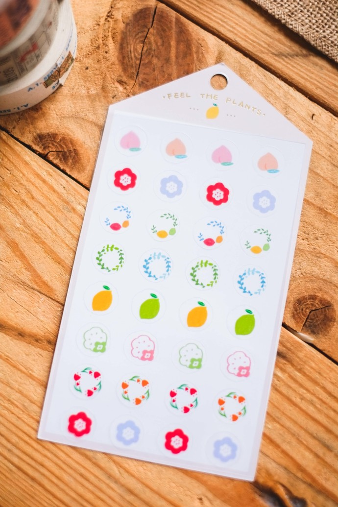 Ownday translucent sticker sheet - Feel The Plants - beige, see-through backing