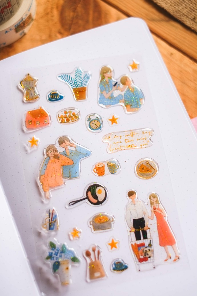 Ownday crystal/epoxy sticker sheet - Love Story - dark blue, see-through backing