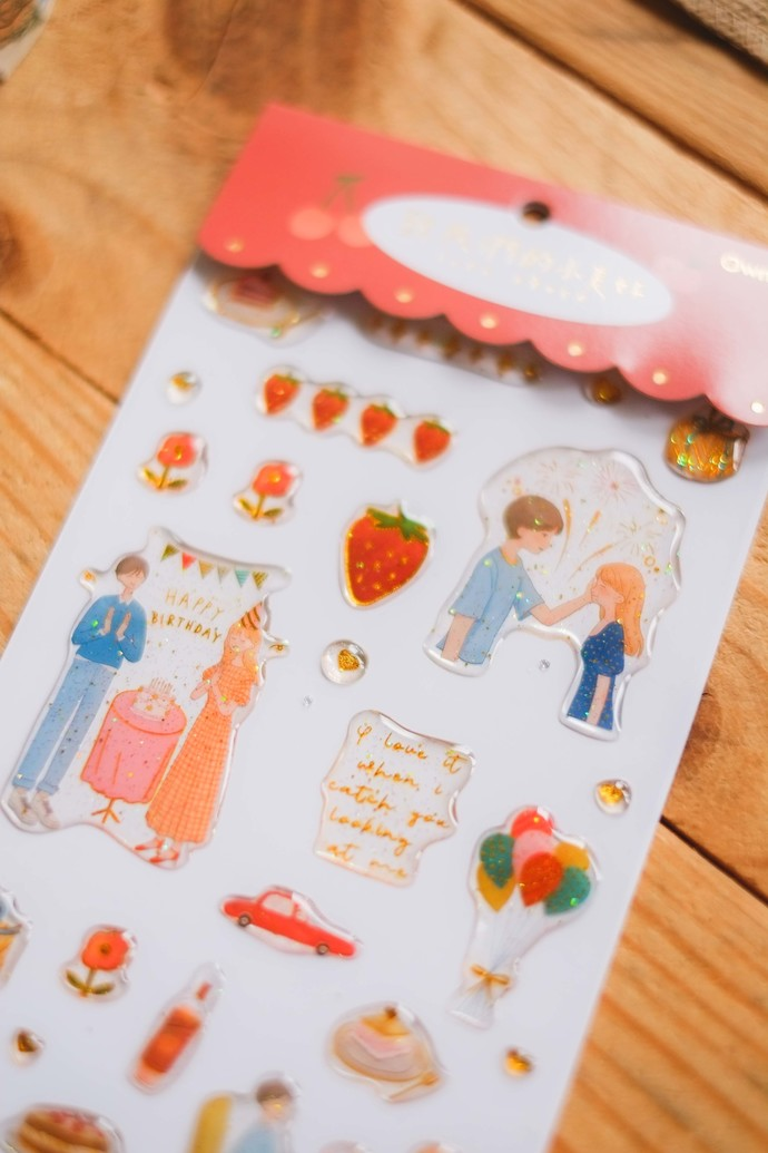 Ownday crystal/epoxy sticker sheet - Love Story - red, see-through backing epoxy