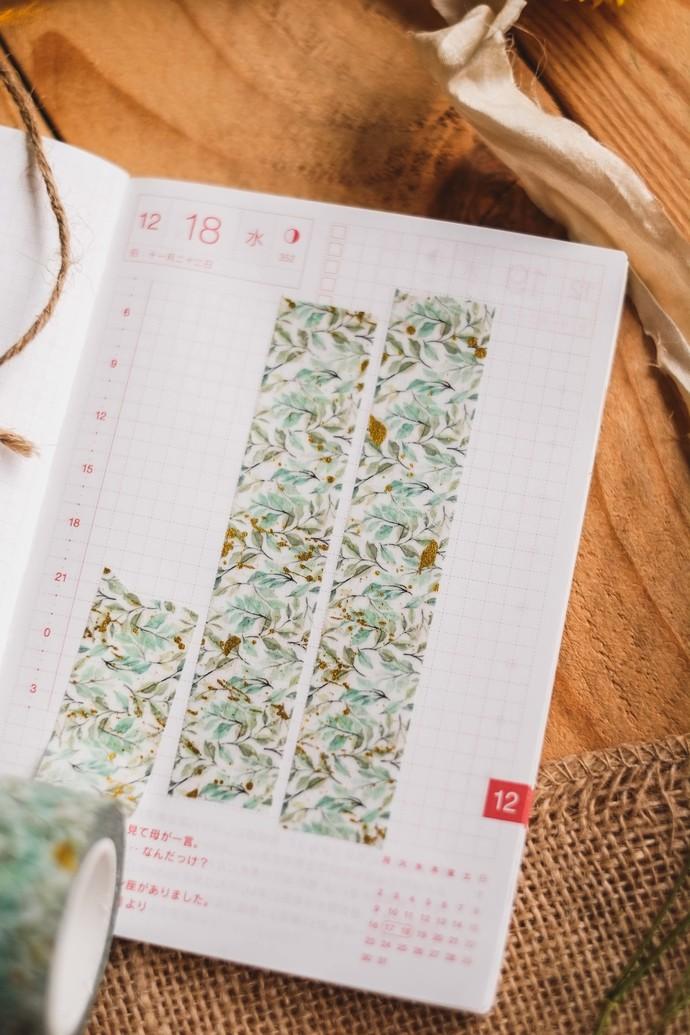 Spring Leaves - 2cm wide premium foil washi tape 10m - original design, perfect