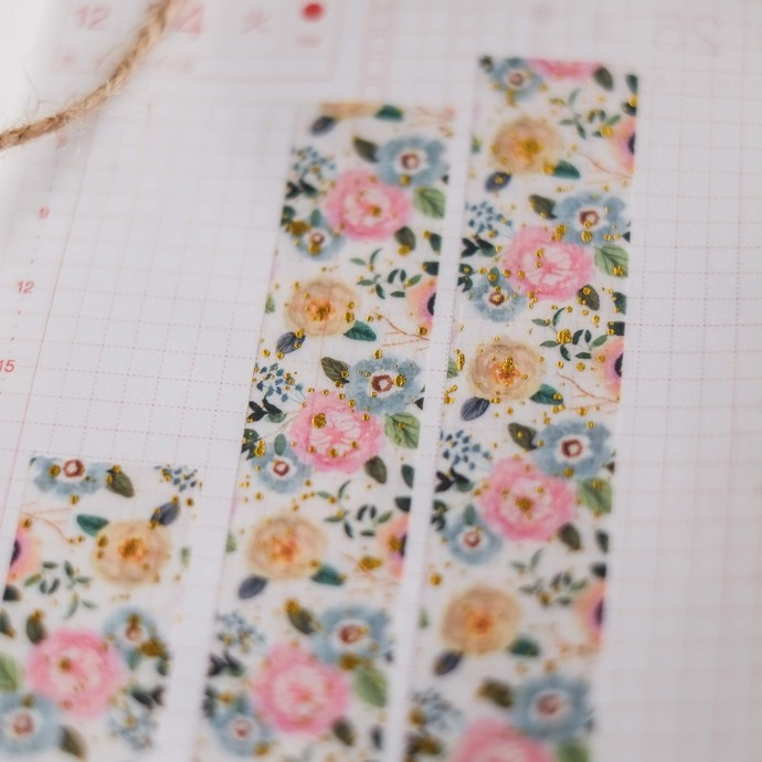 Ready to Bloom - 2cm wide premium foil washi tape 10m - original design, perfect