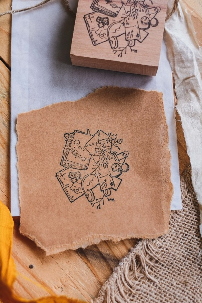Messy Desk - London Gifties original design wooden stamp - 6x6cm