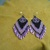 Native American Style Brick Stitched Geometric Design Earrings in Lavender and