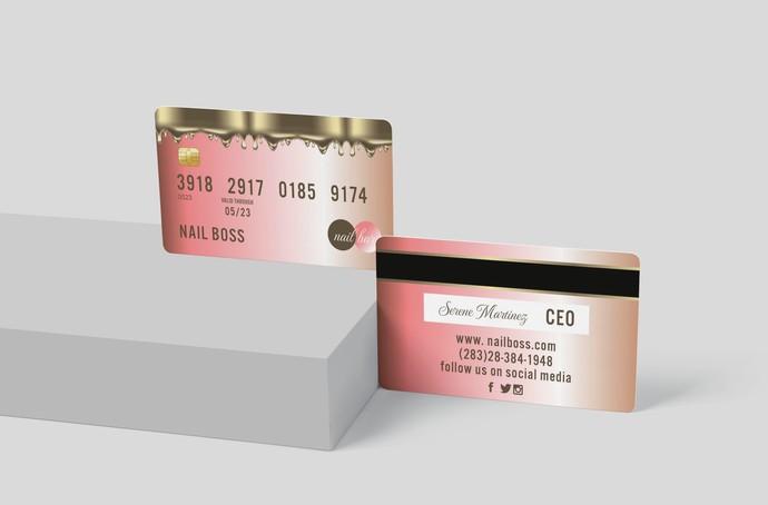 Rose Gold Credit Card Business Cards, Credit Card Business Card, DIY Business