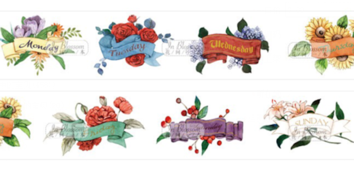 1 Roll of Limited Edition Washi Tape:  Daily Floral Monday to Sunday