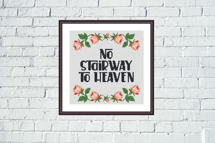 No stairway funny cross stitch flower border