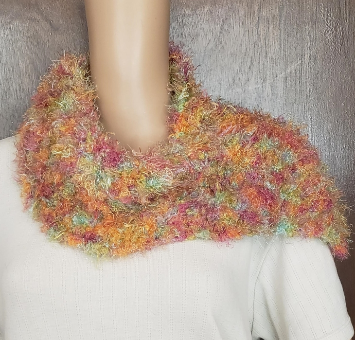 Hand Knit Cowl Scarf Bright Pastels with a touch of glitter
