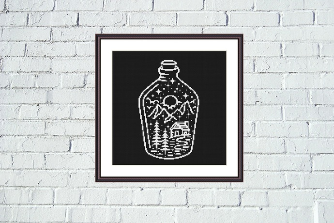 Night at the bottle black and white embroidery