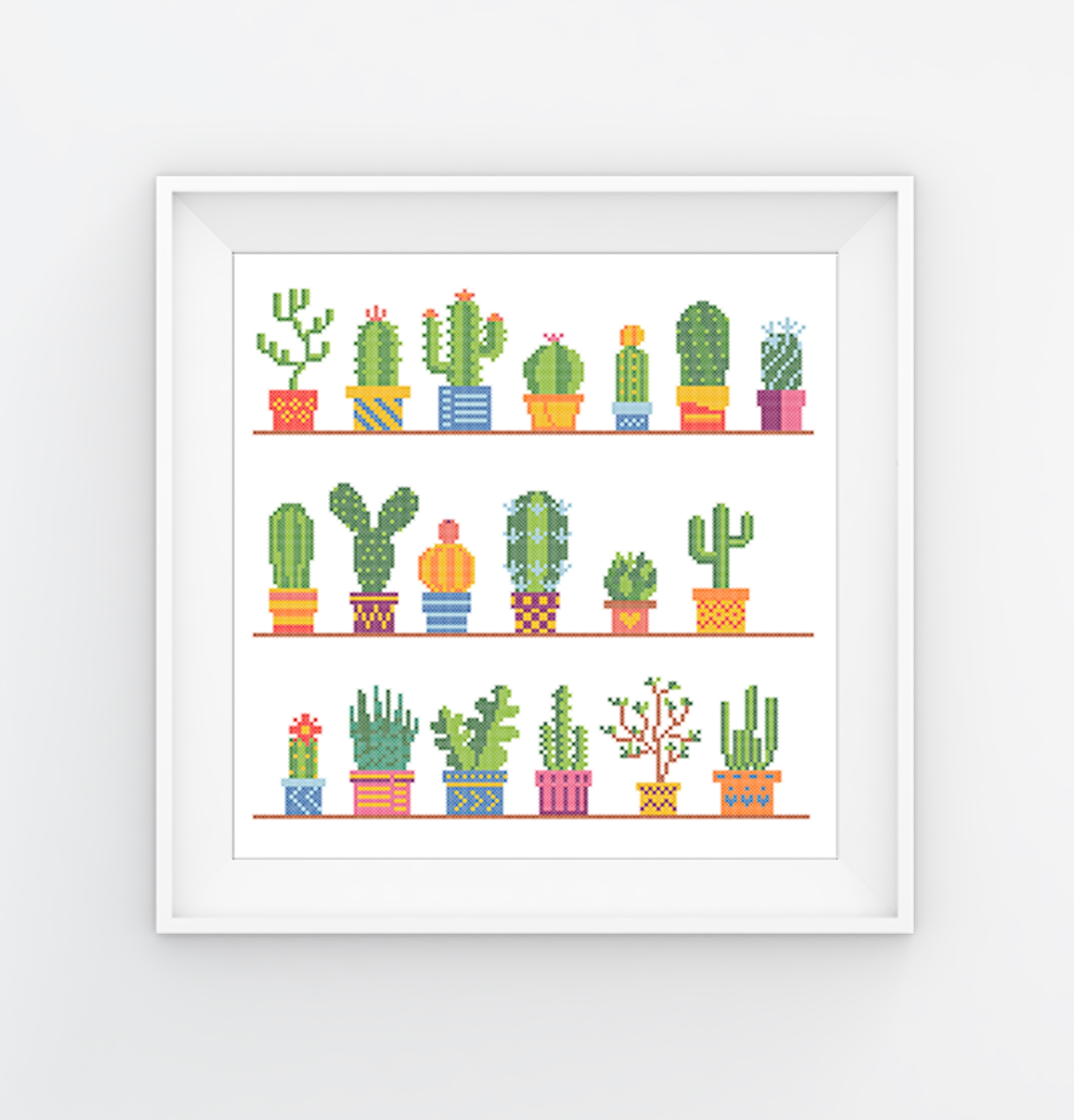 instant download PDF chart Fun cross stitch project Cactus counted cross stitch