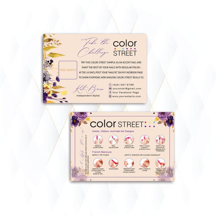 Plum Floral Personalized Color Street Twosie Card, Vintage Color Street