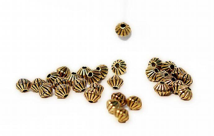 Golden Bicones-  pewter spacer beads