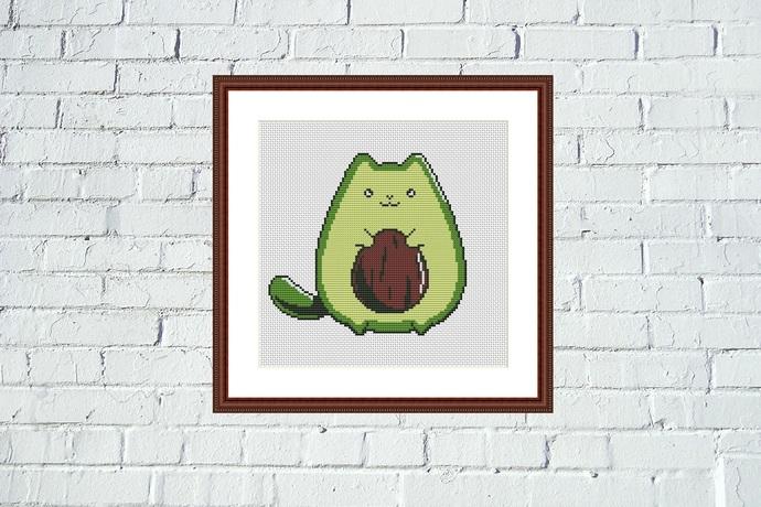 Avocato cat cute animals cross stitch pattern