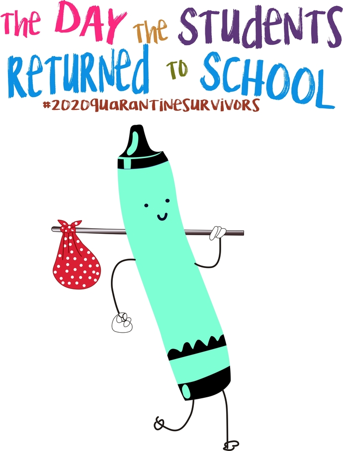 The day the Students returned to school, bright blue crayon ,