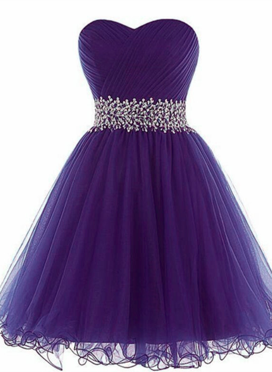 High Quality Tulle Knee Length Tulle Purple Homecoming Dress, Short Prom Dress