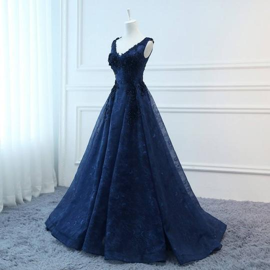 Dark Navy Blue Lace V-neckline Long Prom Dress, Beautiful Evening Dress