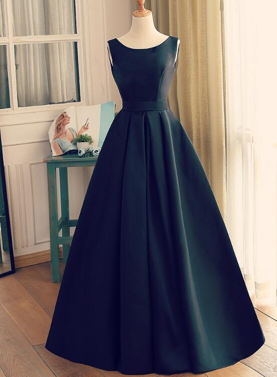 Black Satin A-line Floor Length Wedding Party Dress, Cute Long Simple Formal