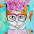 """16"""" x 20"""" The Flower Girl Original Whimsical Cat Folk Art Painting"""