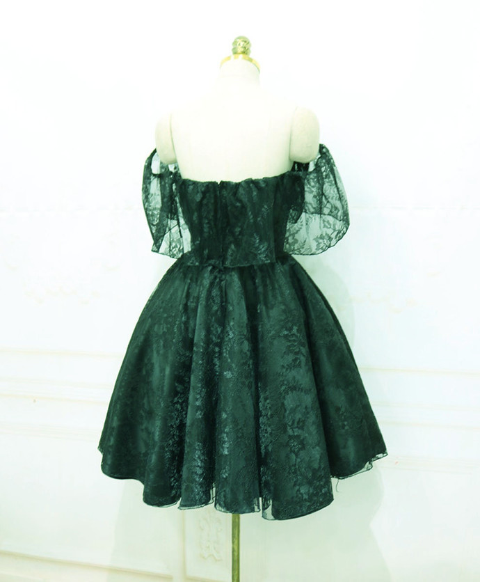 Dark Green Lace Off Shoulder Knee Length Party Dress, Lace Homecoming Dress