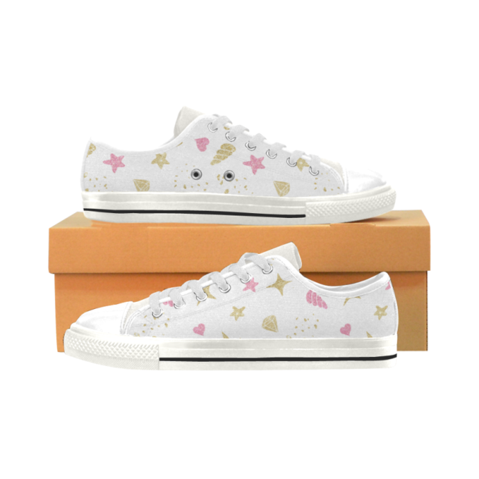 Unicorn Pattern Low Top Canvas Shoes for Kid, Kid's Canvas Shoes