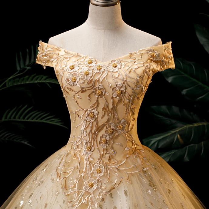 Lovly Off Shoulder Champagne Sweet 16 Dresses, Duinceanera Dress
