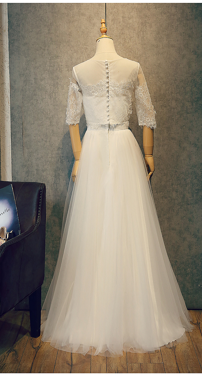 White Two Piece Simple wedding Dress, Lovely Long Prom Dress
