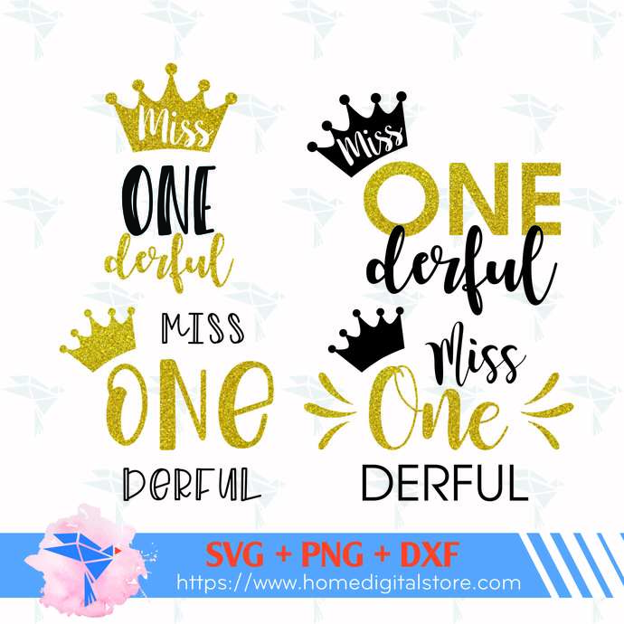 Miss Onedeful SVG, PNG, DXF. Instant download files for Cricut Design Space,