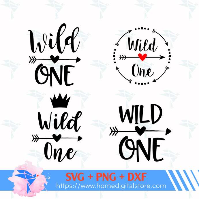 Wild One SVG, PNG, DXF. Instant download files for Cricut Design Space,