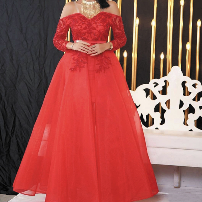 off the shoulder red prom dresses long sleeve Lace Applique beaded elegant cheap
