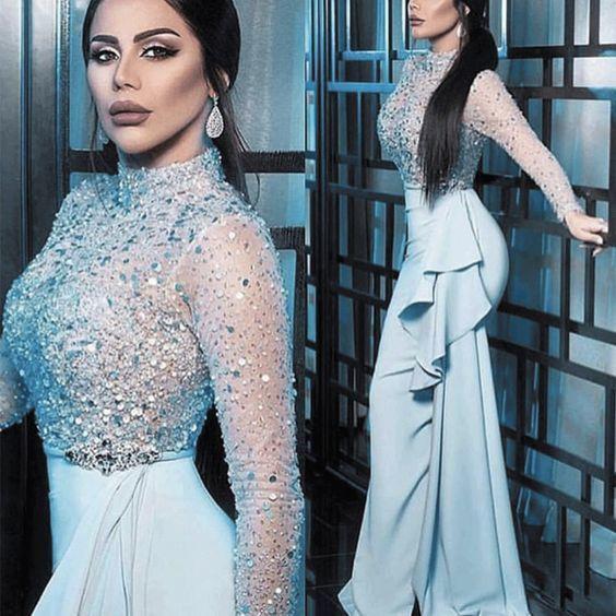 high neck beaded evening dresses long sleeve blue mermaid crystals elegant cheap