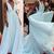 light blue v neck prom dresses long chiffon a line sleeveless elegant simple