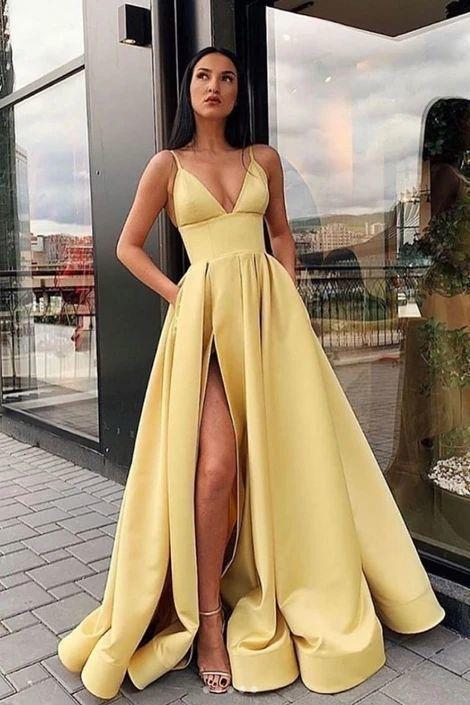 spaghetti strap yellow prom dresses with pocket vestido de longo satin simple
