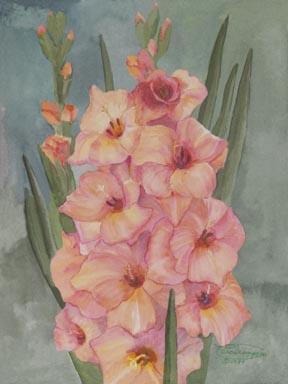 """""""Peach Gladiolus"""" Canvas Giclee Print Flower by Carol Thompson"""