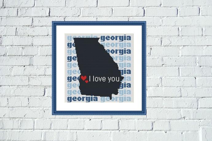Georgia state map cross stitch embroidery