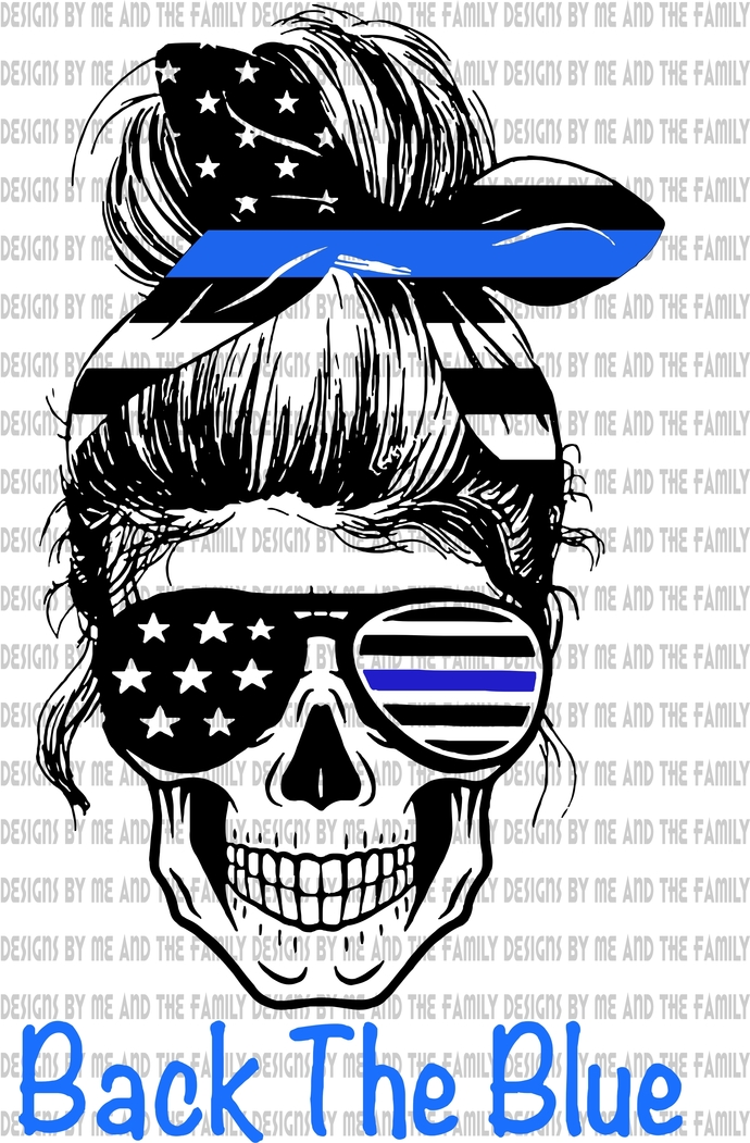 Blue line print ribbon skull the thin line officers walk daily between life and