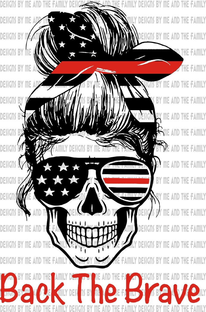 Red line skull head band print, represents respect for Firefighters injured and