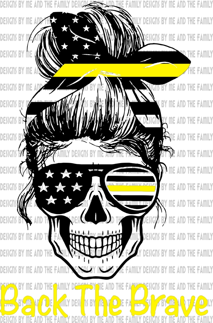 Back the Brave Yellow line skull, represents police dispatchers, fire