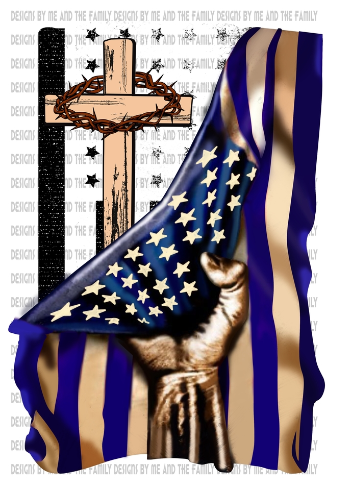American flag pulled back with cross, blue lines, God is good, Way Maker, cross