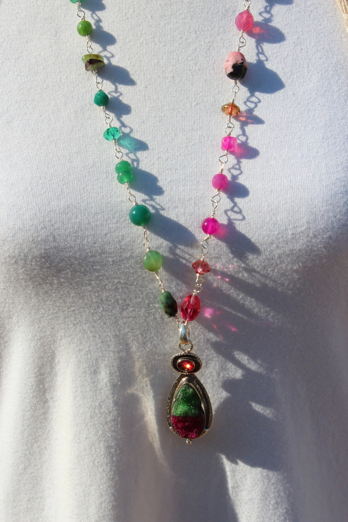 Hot Pink & Green Druzy with Tourmaline Long beaded Necklace with Pendant by