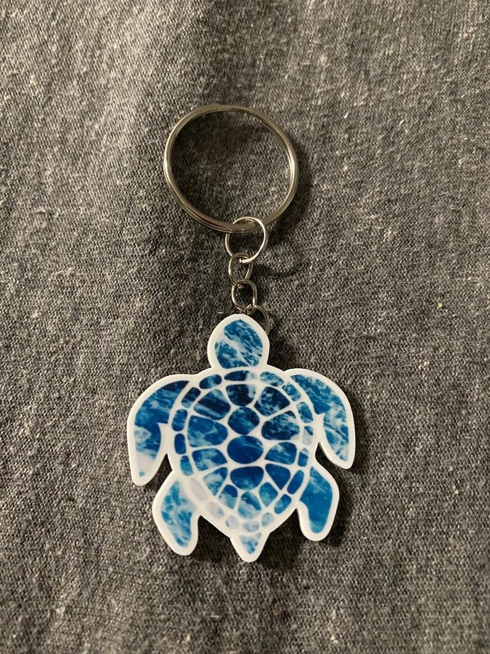 Turtle keychain, handmade turtle keychain